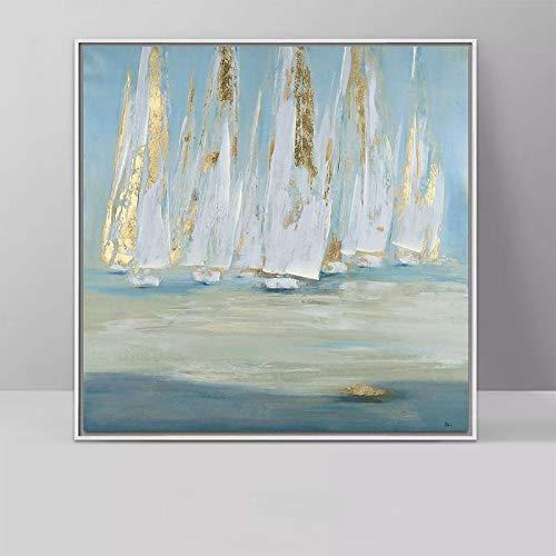 wZUN Cartel de Paisaje Abstracto velero Lienzo Pintura Granja decoración de Pared Arte Imagen Dormitorio 60x60 Sin Marco