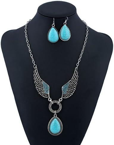 LFOEwpp7 Retro Jewelry Set,Turquoise Pendant Wing Teardrop Hook Earrings Necklace, Women Party Wedding Banquet Jewelery, Birthday Galentine Valentine's Day Decor Gift