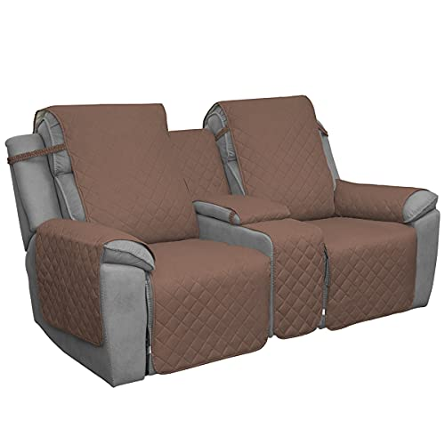 Easy-Going Loveseat Recliner Cover with Console, Reversible Couch Cover for Living Room, Split Sofa Cover for Each Seat with Elastic Straps for Kids, Dogs, Pets(2 Seater, Brown/Beige)