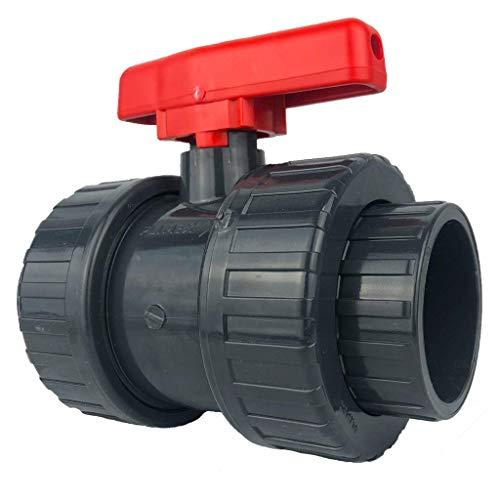 well2wellness® PVC-Kugelhahn mit beidseitigem Überwurf 50mm roter Griff