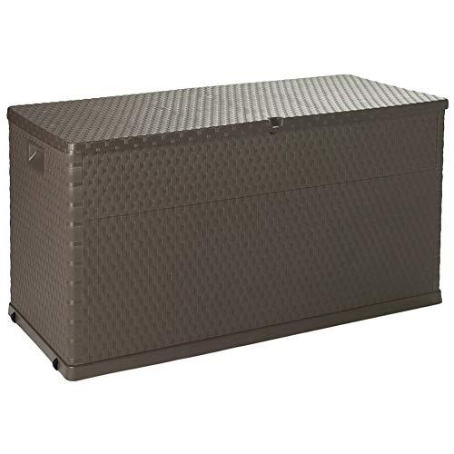 Garden Storage Box, Large Capacity Waterproof Weather-resistant Lockable Outdoor Storage Solution Box 420L Brown