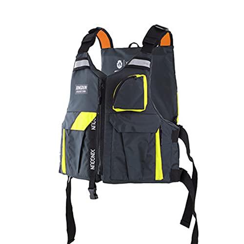 FSDH Chaqueta de Rescate de Nylon Impermeable, con cinturón de Seguridad Ajustable, Adulto Barco portátil natación de natación de Emergencia Kayak Pesca Chaleco salvavida Gray Green-L