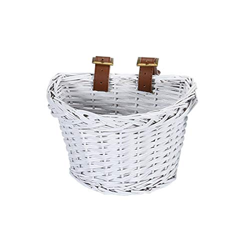 YEHTEH Front Handlebar Basket, Wicker Bike Basket, Basket for Small Bicycle. Size L9 x W7x H6 inch. (White)