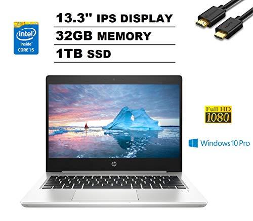 HP ProBook 430 G6 13.3' FHD Full HD 1080p IPS Business Laptop (Intel Quad-Core i5-8265U, 32GB DDR4 RAM, 1TB PCIe M.2 SSD) Backlit, Type-C, RJ-45, Windows 10 Pro + IST Computers HDMI Cable