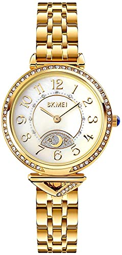 QHG Rhinestone de Lujo Mujeres Reloj de Acero Inoxidable Ladies Reloj de Cuarzo Star Moon Girl'S Reloj Reloj Reloj de Pulsera Femenina (Color : Gold)