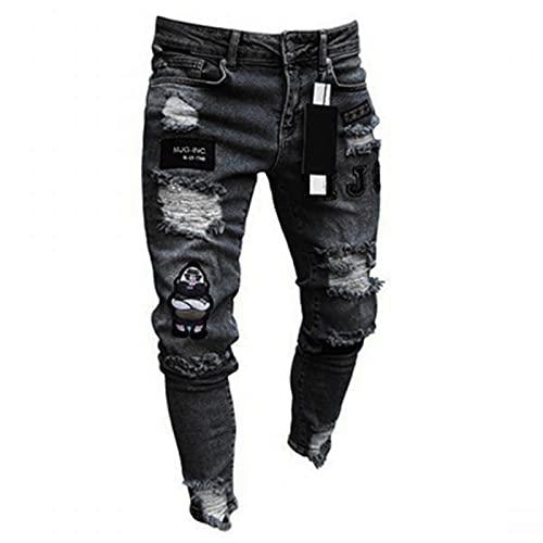 2021 Pantalones vaqueros para Hombre,Pantalones Moda Casual Jeans rotos trend largo Pantalones Pants Skinny Pantalon Fitness Jeans Largos Pantalones Ropa de hombre
