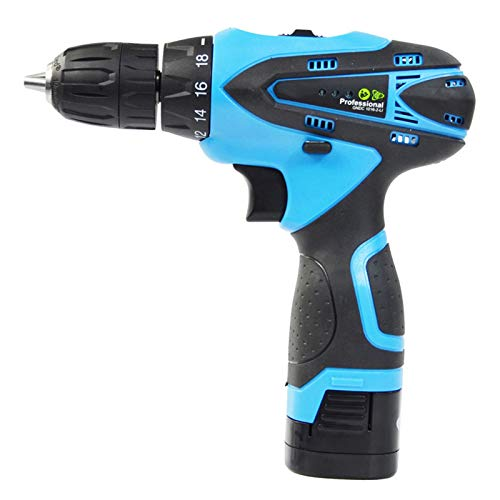 KAMELUN Cordless Hammer Drill Driver, Electric Screwdriver Accessory Kit with LED Work Light, 2 Variable Speed, 18+1Torque Setting, with 28pcs Drill Bits Set,12v