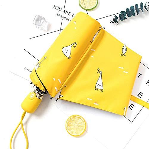 Piner Cartoon Duck Design Automatische Paraplu Geel Winddicht UV Bescherm Paraplu Voor Vrouwen Meisje Zonnig en Regenachtig Opvouwbare paraplu's, Wit