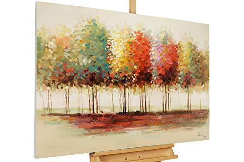 Kunstloft® Cuadro acrílico 'Gradient' 120x80cm | Original Pintura XXL Pintado a Mano en Lienzo | árboles Bosque Colorido otoño | Mural acrílico de Arte Moderno en una Pieza con Marco