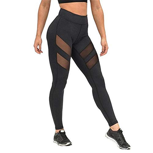 Blouse met V-hals,Fitnessleggings, doorzichtige mesh yogabroek-black_M,Dames Sexy casual herfst losse tops met lange mouwen