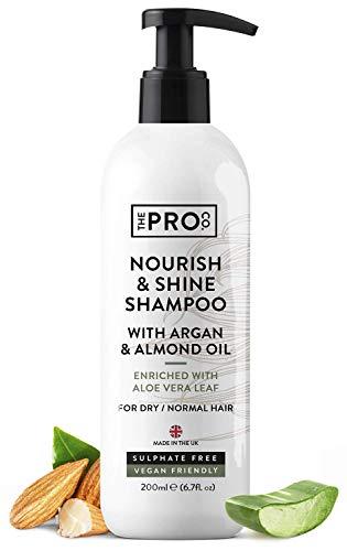 Champú Nourish & Shine 200 ml - Enriquecido con hoja de aloe vera - Champú sin SLS con aceite de argán y almendras - Ideal para cabello normal o seco - Apto para veganos - Hecho por The Pro Co