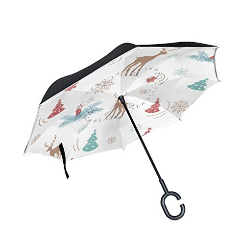 Christmas Elk And Christmas Tree Rainproof and Windproof UV Protection Double Layer Folding Inverted Umbrella with C-Shaped Handle Reverse Umbrellas For Car Rain Outdoor
