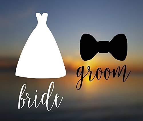 Sticker {Bruid & Groom Decal Set} Paar Decal | Champagne Fluit Decal | Bruiloft Gift | Vinyl Decal | Bruid Decal | Groom Decal | Zijn en haar gemakkelijk aan te brengen en verwijderbaar