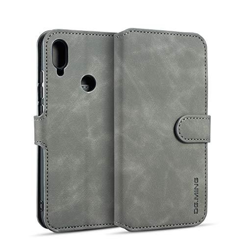 xinyunew Samsung Galaxy A40 Hülle, 360 Grad Handyhülle + Panzerglas Premium Handy Schutzhülle Leder Wallet Tasche Flip Brieftasche Etui Schale (Grau)