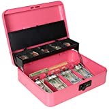 Cash Box with Money Tray and Combination Lock, Parrency Large Money Box, 5 Compartments with Cover for Cions & 4 Spring-Loaded Clips for Bills, 11 4/5' x 9 2/5' x 3 1/2', Pink