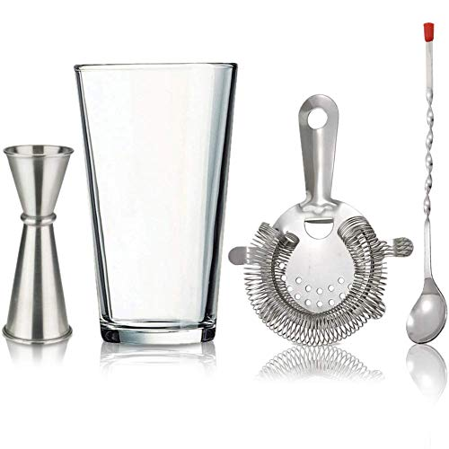 Cocktail Mixing Bartender Tools Set - Includes Crystal Glass Drink Shaker 16oz, Bar Mixer Spoon, Strainer and Jigger, Great Bartending Mixology Accessories Kit for Professionals and Beginners