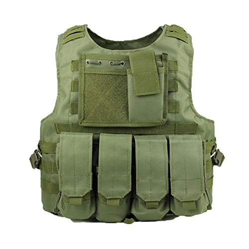 ATAIRSOFT Tactique Chasse Militaire Molle Vest FSBE Style Transporteur Gilet avec 7 Personnalisable Pochette modulaire OD Green