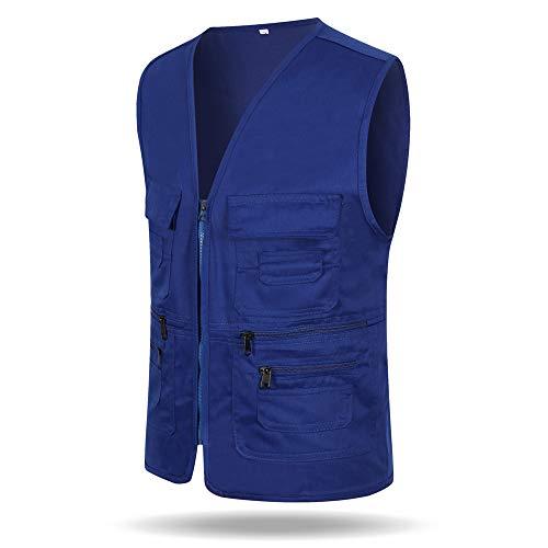 DAZISEN Arbeitsweste - Arbeitsmantel Für Männer Frauen Ärmellos V-Ausschnitt Weste Mit Reißverschluss Jacke Mantel Gilets Mit Taschen, Farbe blau, EU XL=Tag 2XL