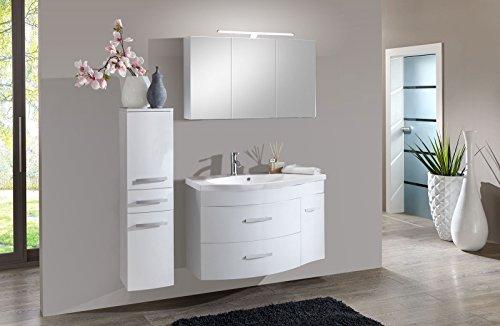 Preisvergleich Produktbild SAM® Badmöbel-Set Lugano 3tlg,  in weiß,  110 cm Breite,  Mineralgussbecken,  Softclose-Funktion,  Set aus 1 x Spiegelschrank,  1 x Waschplatz,  1 x Hochschrank
