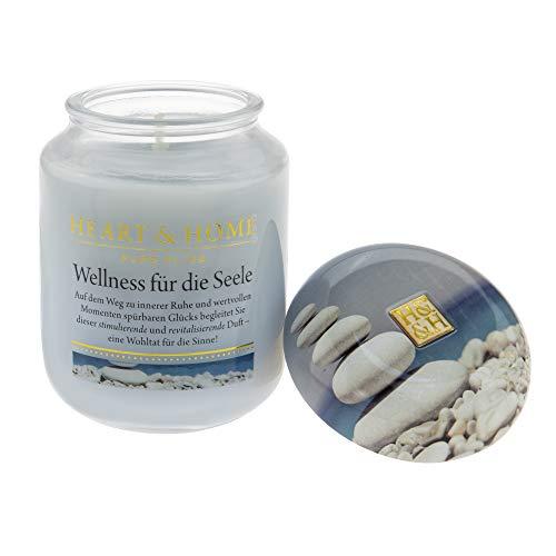 Heart & Home Duftkerze Wellness für die Seele, revitalisierender Duft nach Orange & Jasmin, Sojawachs-Kerze im Glas, brennt bis zu 75 h, vegan, 340 g
