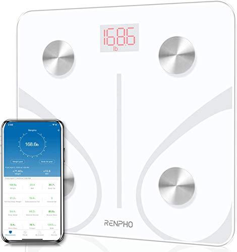 Bascula de Baño Digital Grasa Corporal, RENPHO Balanza Bluetooth Inteligente con App, Bascula Electrónica Analógica Monitores con Análisis Corporal, 13 Mediciónes de Peso IMC Visceral e Muscular