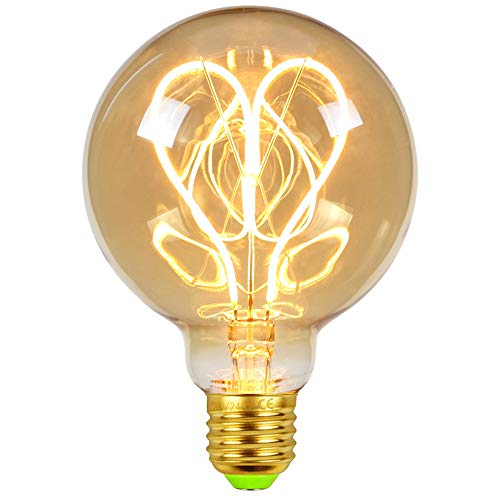 Bombillas LED Edsion Vintage 4 W Regulable 220/240 V E27 Especial Decorativa Bombillas Ámbar Cristal Calor Glow (G95 Heart)