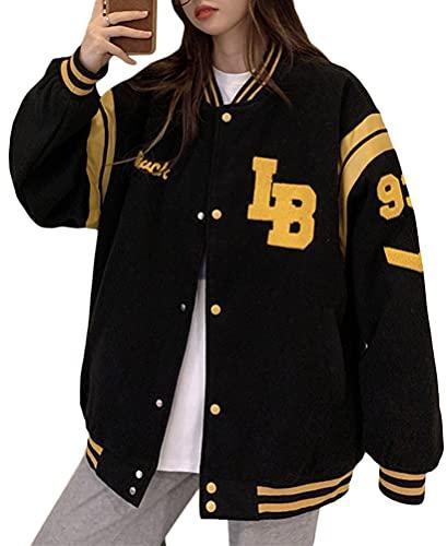 Minetom Damen Jacken College Cargo Jacke Baseball Sportjacke Sweatjacke Patchwork Hoodies Mantel Streetwear Z7 Schwarz XS