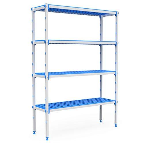 Pujadas P7200 Kit completo de estantería de aluminio y polipropileno, compatible con contenedores 1/1, 4 niveles, 2060 mm