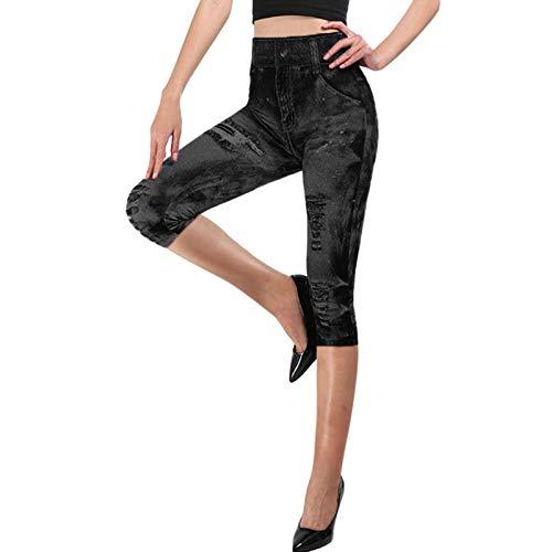 N\C Mujeres Denim Print Leggings Levantamiento de glúteos Moda Slim Fit Pantalones elásticos Pantalones recortados Pantalones de Yoga Fittness