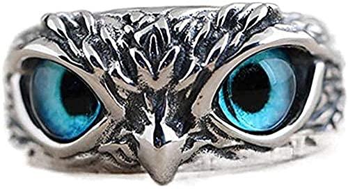 Anillo de plata de ley 925 con diseño de búho de ojo de demonio, estilo retro, vintage, con diseño de animal abierto, ajustable, regalo de joyería para mujeres y hombres
