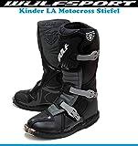 Kinder MotorradStiefel Wulf Junior Motocross Off-Road Quad Stiefel Sports Dirt Pit Bike MX Cross RennStiefel, Kids LA Schwarz Boots (Schwarz,36)