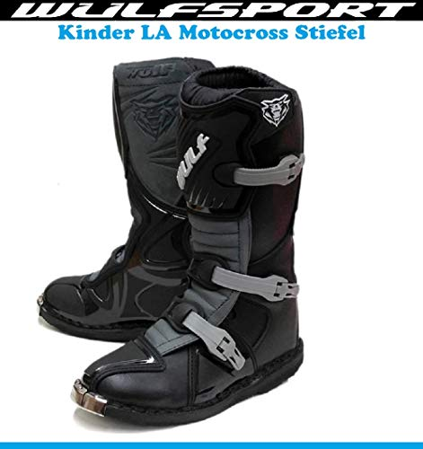 Kinder MotorradStiefel Wulf Junior Motocross Off-Road Quad Stiefel Sports Dirt Pit Bike MX Cross RennStiefel, Kids LA Schwarz Boots (Schwarz,28)
