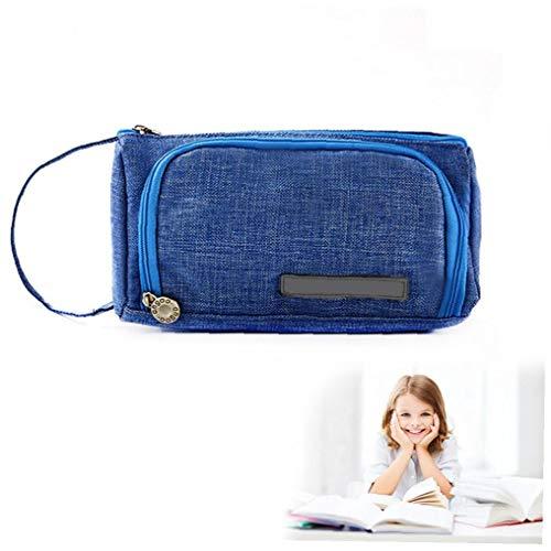 1PC gran capacidad del lápiz bolsa de mano de la pluma bolsa de almacenamiento de escritorio sostenedor del bolso Por medio Secundaria Universidad Estudiante Oficina de regalo (azul) estacionario