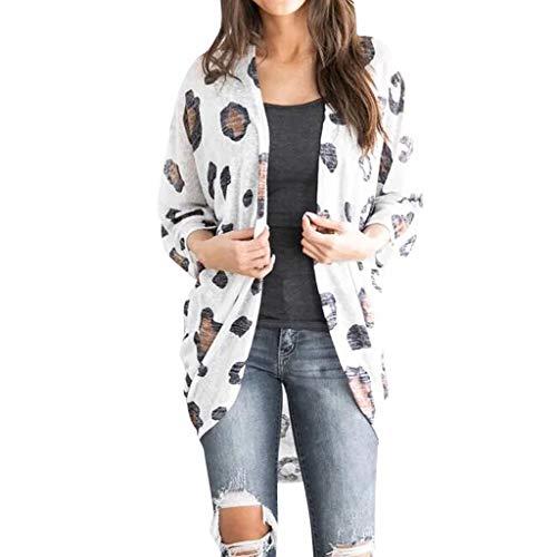 Mode Damen Wolljacke beiläufiger Mantel Freizeit Kuh Muster Winter warme Blusen Lange Hülsen lose passende Oberseiten Strickjacke Pullover Weiß XL