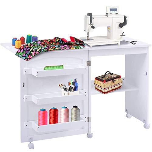 COSTWAY Armarios de Costura Mesa Plegable con Ruedas Mueble para Máquina de Coser (Blanco)