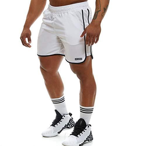 Katenyl Pantalones Cortos Deportivos con Costuras a Rayas para Hombre, Pantalones Cortos para Correr de Entrenamiento Informales cómodos y Transpirables de Malla de Gran tamaño a la Moda XL
