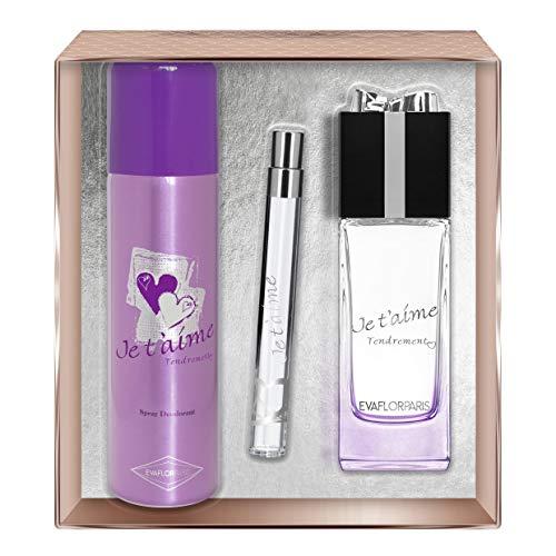 EVAFLORPARIS Je T'Aime Tendrement Coffret pour Femme Eau de Parfum 100 ml + Déodorant 150 ml + Vapo de Sac 12 ml 1 Unité