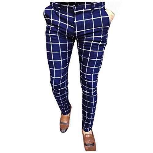 B/N TriLance Männer Casual Plaid Print Long Pants Hose Business-Hose M-XXXL