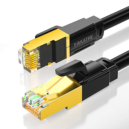 Cat 8 Ethernet Cable, 10 ft Hight Speed Shielded Water/Uvproof LAN Network Cable 2000Mhz 40Gbps RJ45 Faster Then Cat 7, Cat 6e, Cat 6 for PS4, PS5, Xbox, and Gaming, Router, Modem