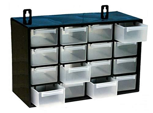 Desconocido Organizador de Tornillos de Plastico con 16 Cajones de 27x17x12,5 cm, Color Negro, Cajonera de Pared, Cajón de Herramientas
