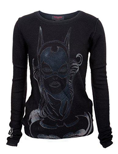 RAW 7 Womens 100% Cashmere Batgirl Crew Neck Sweater Black (Small)