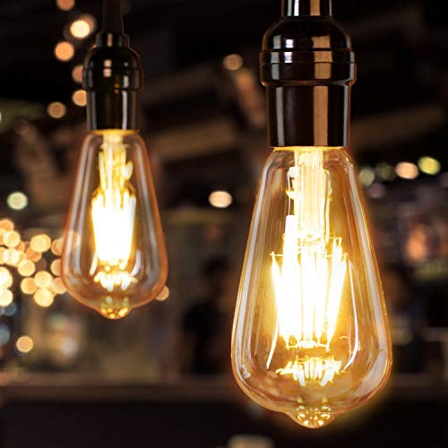 LED Edison Bulbs 60 Watt Equivalent-6w 120v e26 Medium Base Dimmable Eye Protection Vintage Filament Antique Style Light Bulbs For Ceiling Fan Bathroom Porch Replacement LED Bulbs|2700K Amber Warm