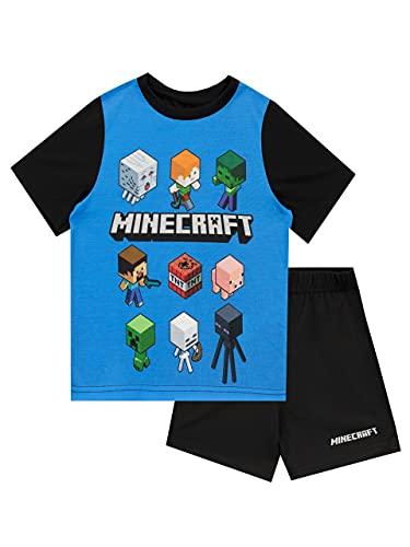 Minecraft Pijamas de manga corta para niños Steve and Creeper Negro 8 - 9 Años