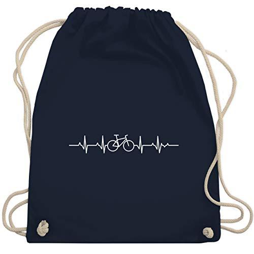 Shirtracer Andere Fahrzeuge - Herzschlag Fahrrad - Unisize - Navy Blau - adventskalender fahrrad - WM110 - Turnbeutel und Stoffbeutel aus Baumwolle