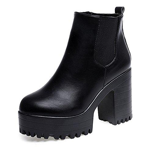 2018 Invierno Mujer Botines Tacon Alto Plataforma Zapatos Botas Martin de Cabeza Redonda (38 EU, Negro)
