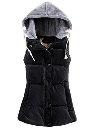 Yeokou Women's Slim Sleeveless Quilted Removable Hooded Winter Puffer Vest Coat Black