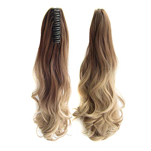 Beauty Wig World 21 inchTwo Tone Long Wavy Curly Woman Claw Clip Ponytail Clip on/in Hair Extensions #10T16 Light Brown/Light Blonden