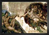 1art1 Michelangelo Buonarroti Póster Impresión Artística con Marco (Madera DM) - The Creation of Adam (70 x 50cm)