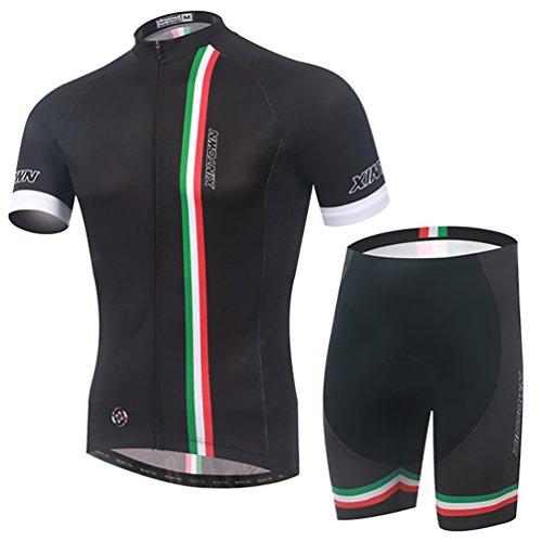 Baymate Homme Respirant Vêtements de Cyclisme Ensemble á Manches Courtes et Pantalons Courts