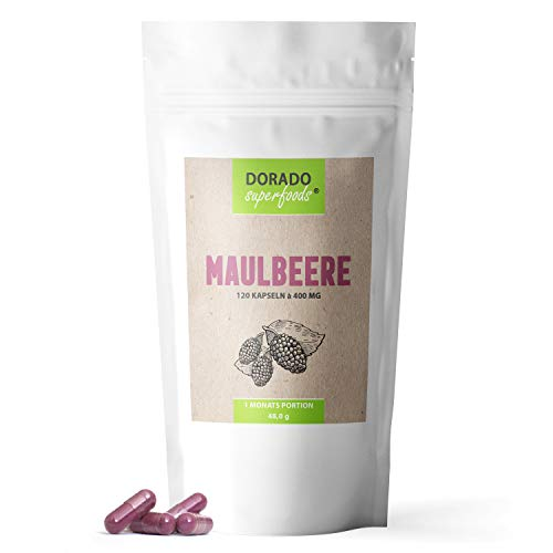 Dorado Superfoods ® Maulbeere Kapseln - frei von Zusätzen | 120 Stück - 1200 mg Tagesdosis - vegan | morus nigra - 1 Monatspackung
